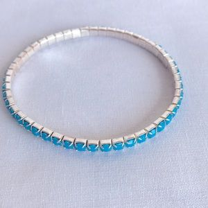 Turquoise color stone and silver tone bracelet